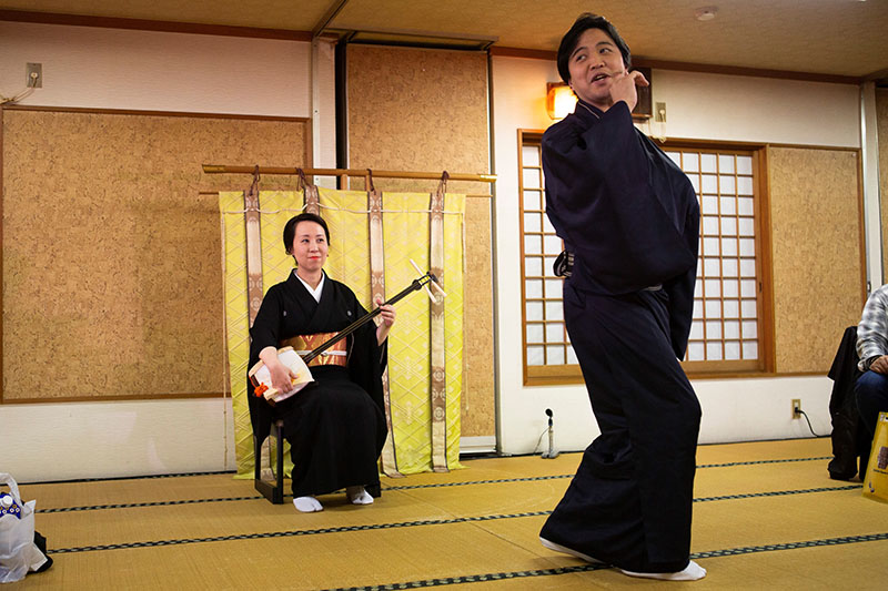 Japanese classical dance with Shamisen (stringed instrument)